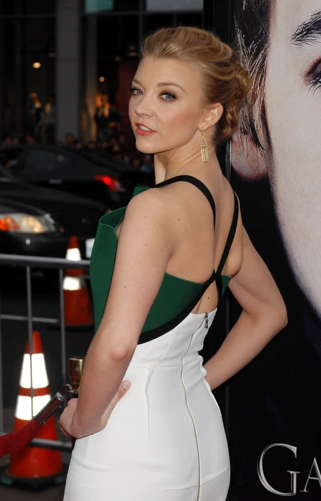 Natalie Dormer pulled back her blonde hair in a neatly slicked upstyle during the Game Of Thrones Season 3 Los Angeles Premiere on March 18, 2013, in Los Angeles, CA.