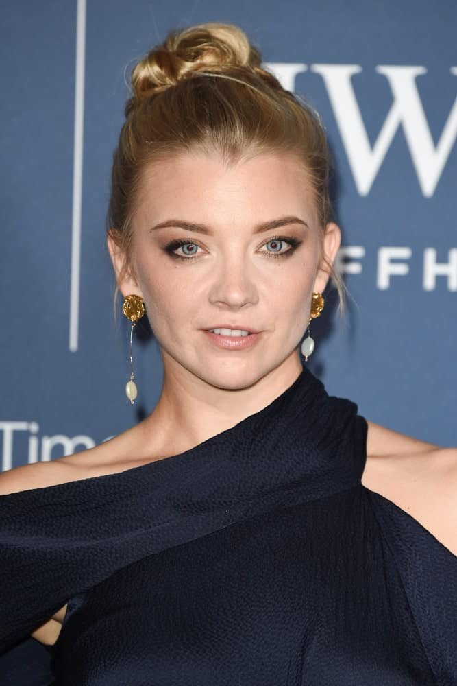 Natalie Dormer gathered her long blonde locks in a slicked high bun at the 2018 IWC Schaffhausen Gala Dinner in Honour of the BFI at the Electric Light Station, London last October 9, 2018.