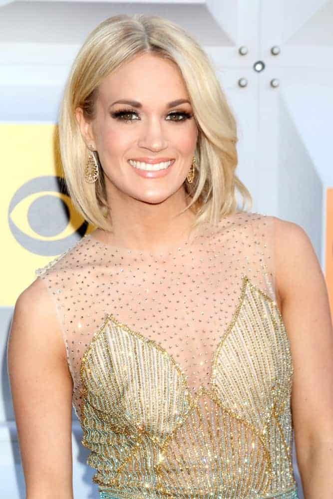 Carrie Underwood wears a cute bob that adds charm to her face during the 51st Academy of Country Music Awards Arrivals on April 3, 2016.
