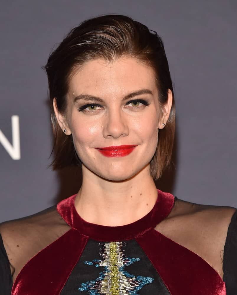 Lauren Cohan in a Semi-Slicked Back Look.