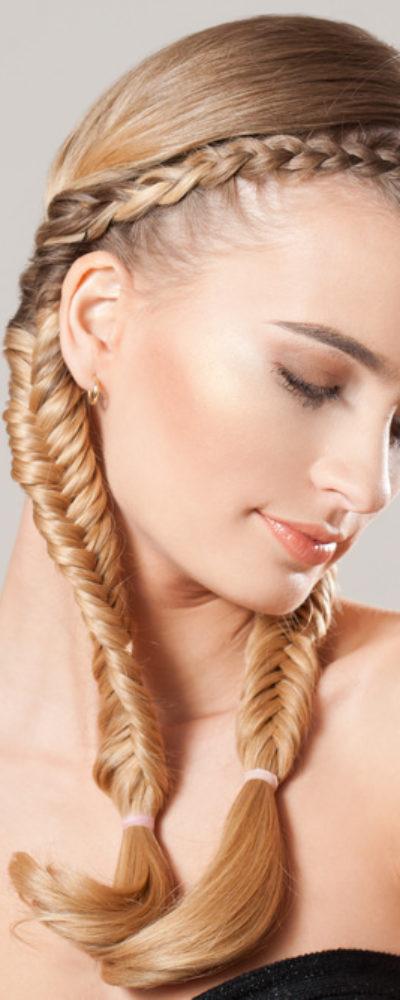 Woman with dutch braided hair