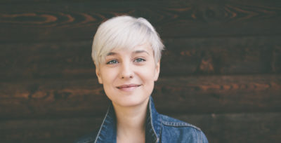 Woman with short blonde hairstyle