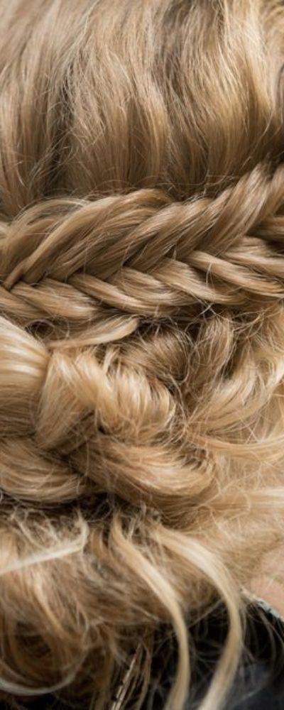 Woman with halo braid