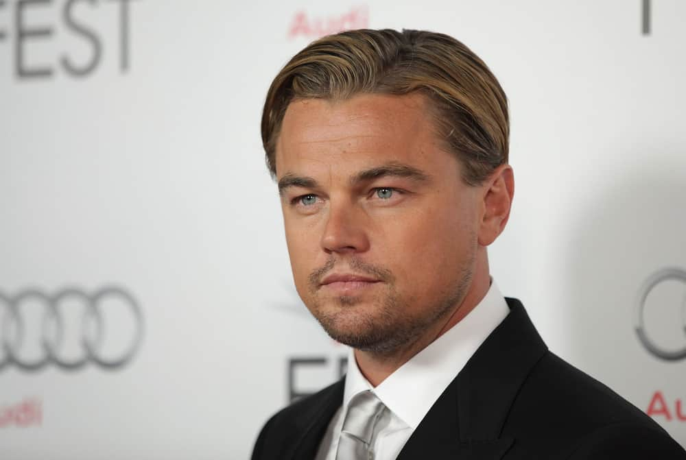 Leonardo DiCaprio with slicked hair at J.Edgar Premiere