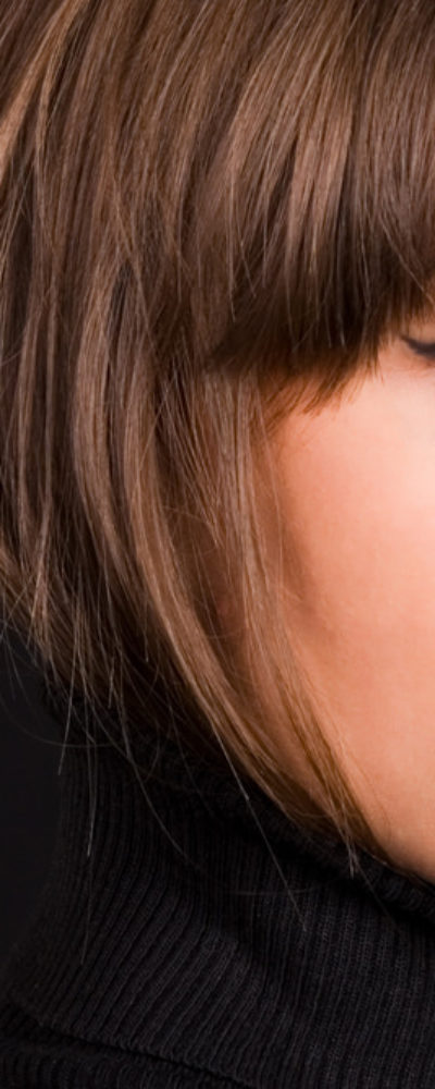 Woman with blunt bangs