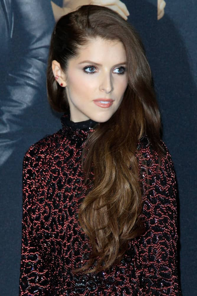 Anna Kendrick's long and thick, medium brown hair.