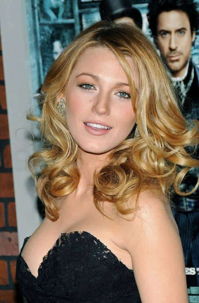 Blake Lively in a stylish, stacked perm.