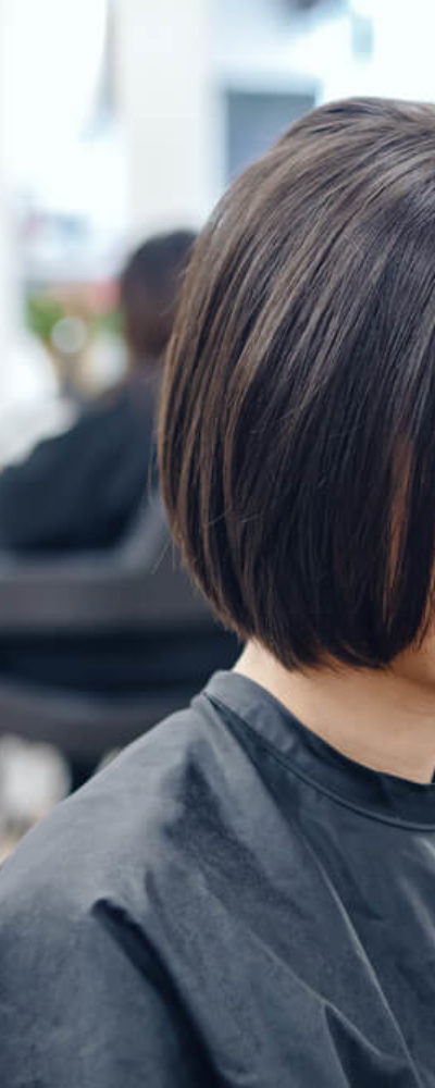 Freshly-cut bob hairstyle.