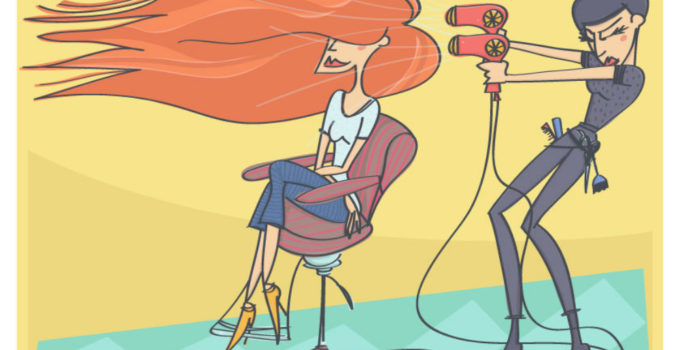 cartoon of hairdresser blow drying clients hair sept10