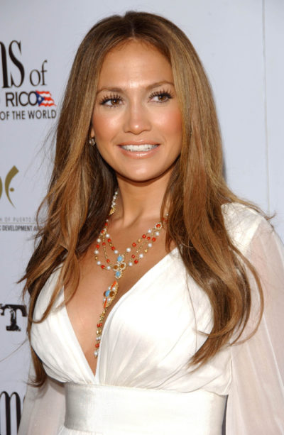 Jennifer Lopez with Caramel Brown Hair.
