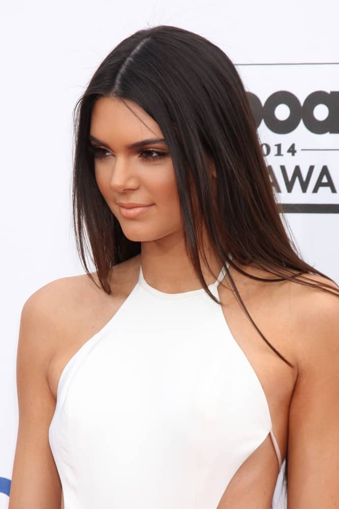 Kendall Jenner's long, straight hair in Dark Brown.