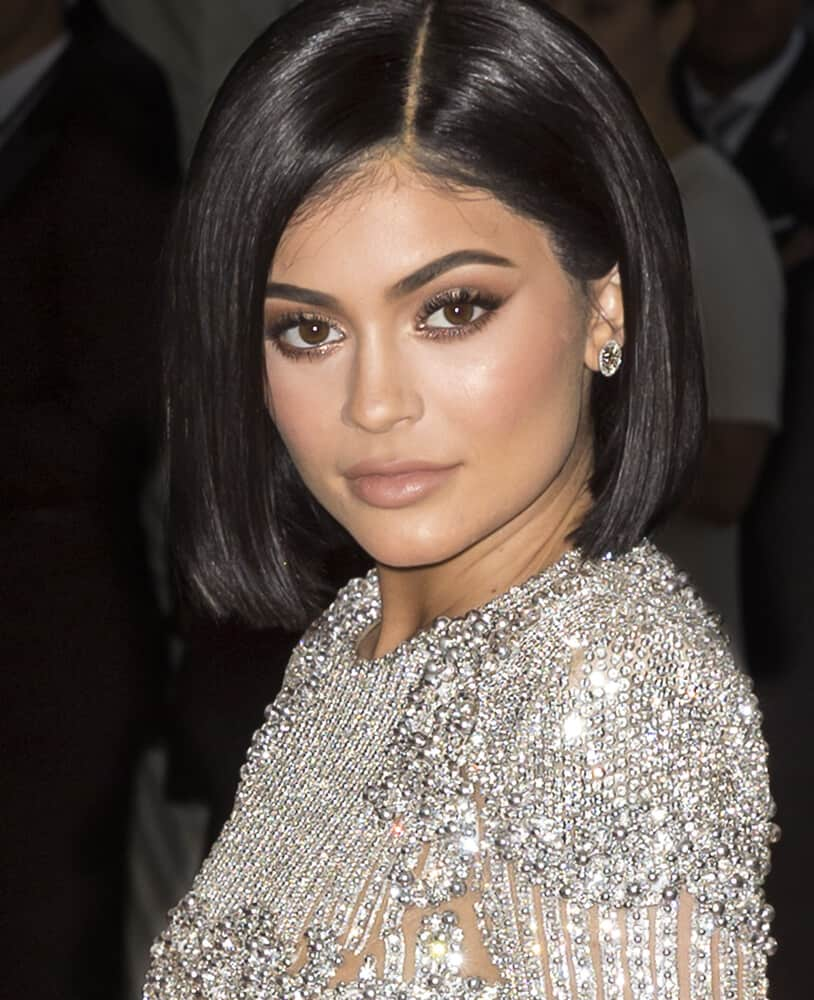 Kylie Jenner in a straight bob with a shiny finish.