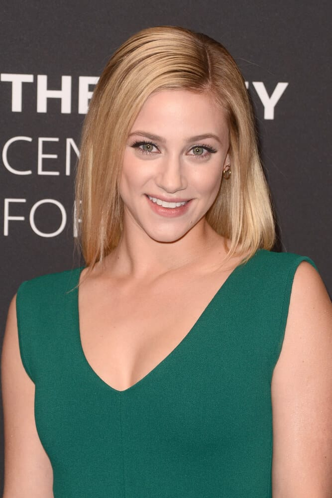 Lili Reinhart's straight blonde hair.