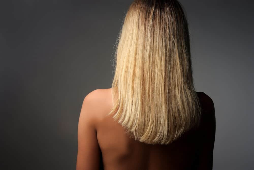 Back view of medium-length, blonde hair.