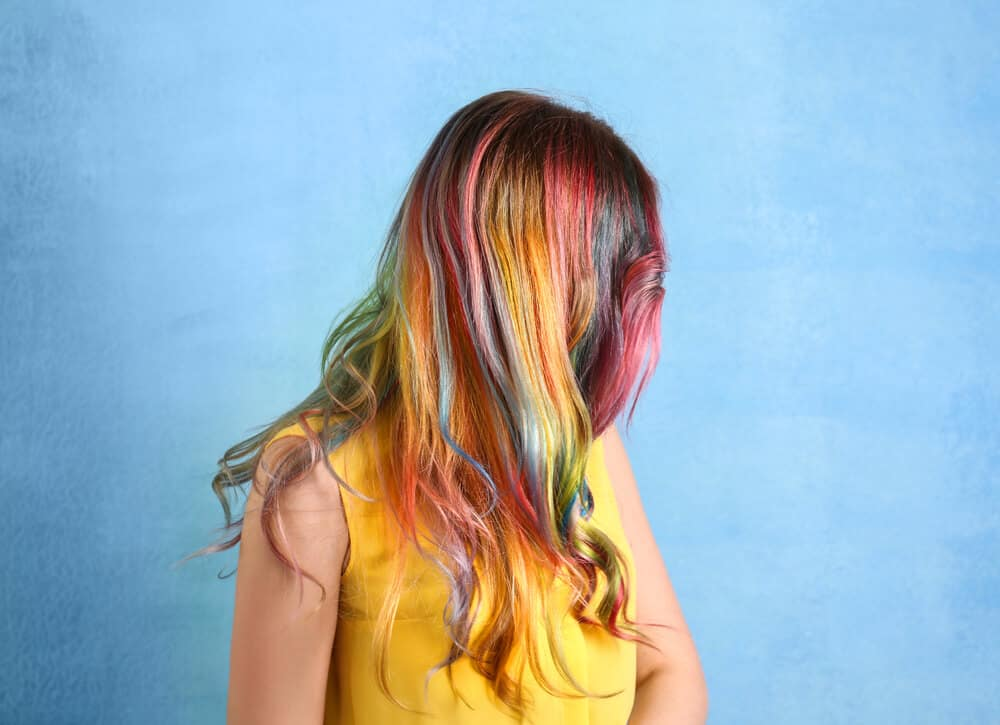 Multi-colored hair on wavy hair.