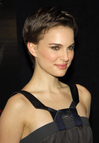 Natalie Portman in a sleek, short haircut.