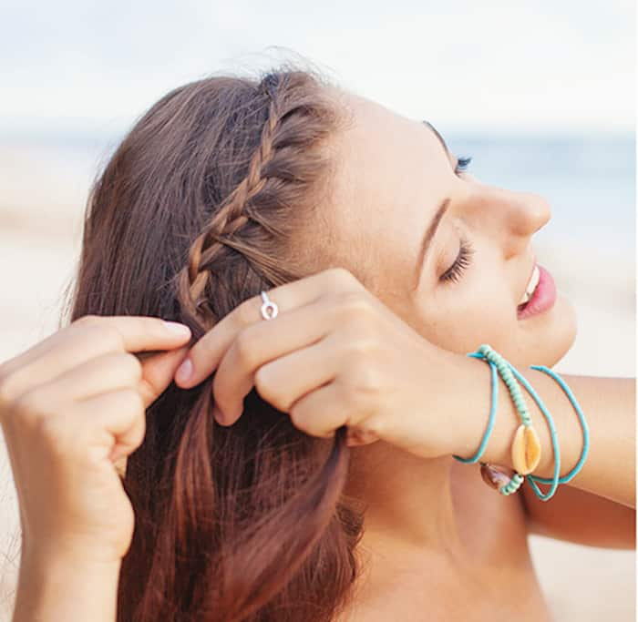 Step 2 for Greek braids - The second step is to apply a 3-strand braid to your bangs along your hairline
