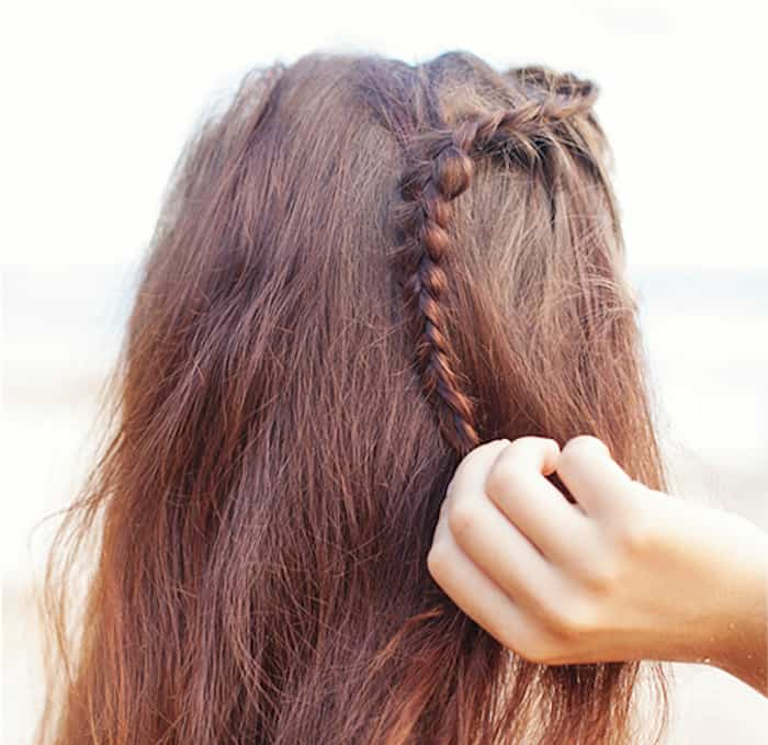 Step 3 Greek Braids: Complete braid toward the back