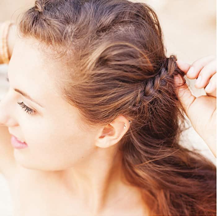 Step 5 Greek braids: braid strand on other sideof head