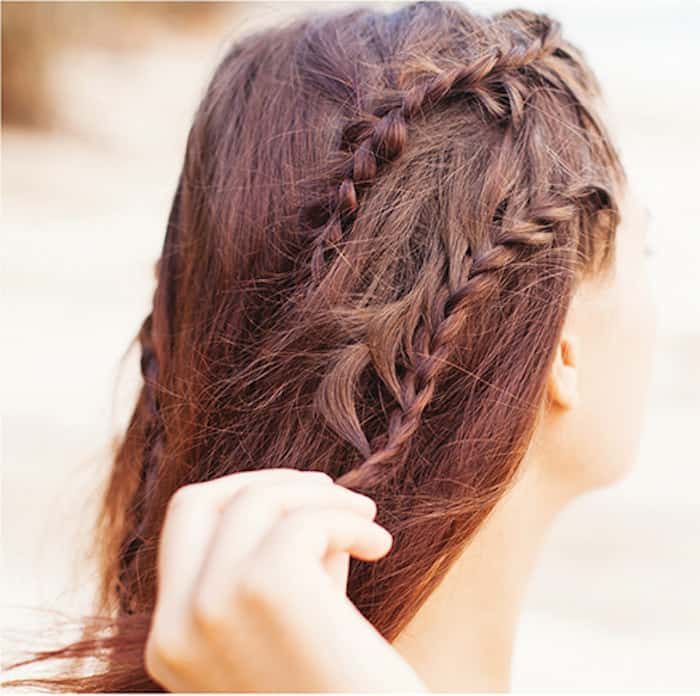 Step 6 Greek braids: Do lower braid under hairline braid