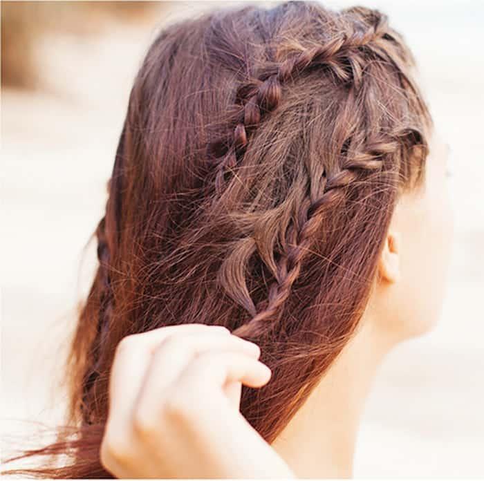 Step 6 Greek braids: Do lower braid under hairline braid