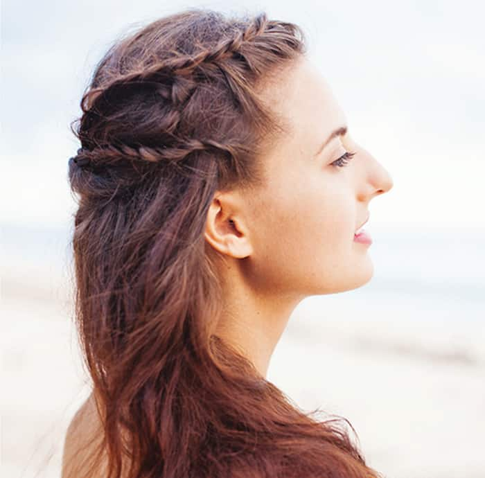 Greek braids side view photo