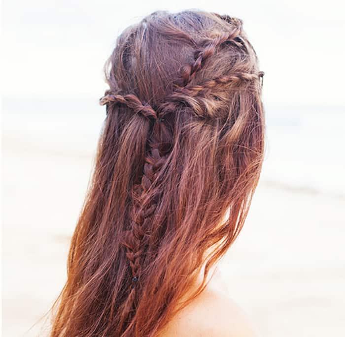 Greek braids back of head view