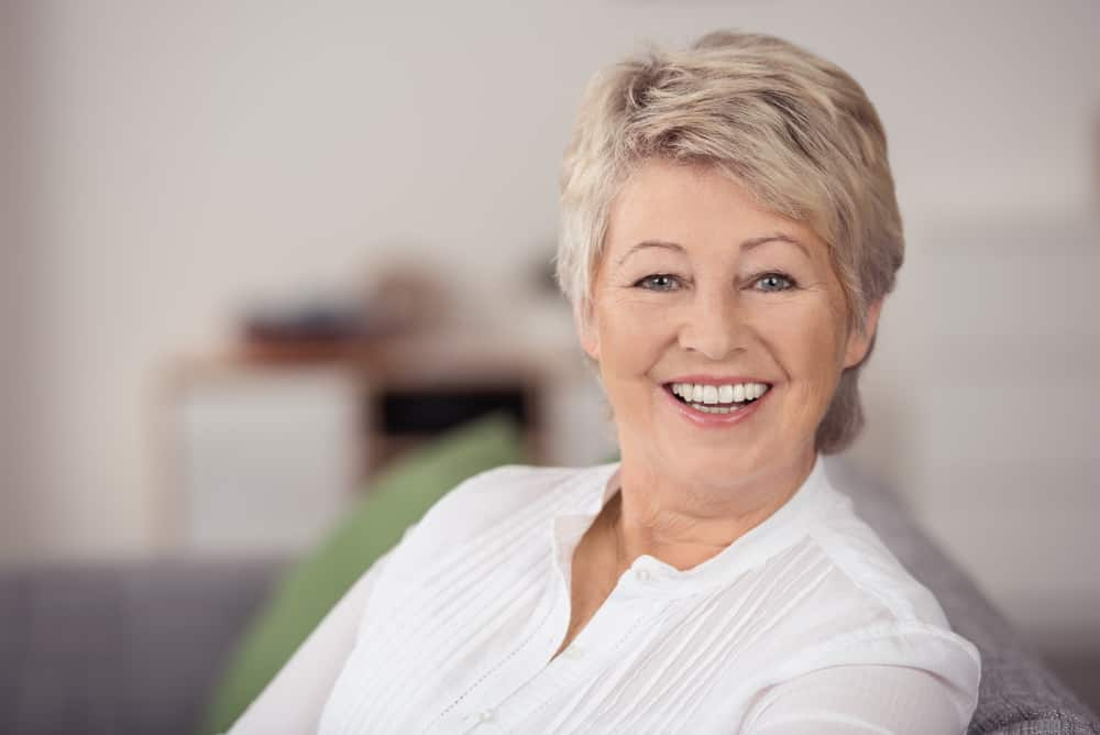 Woman over 60 years old with short hair