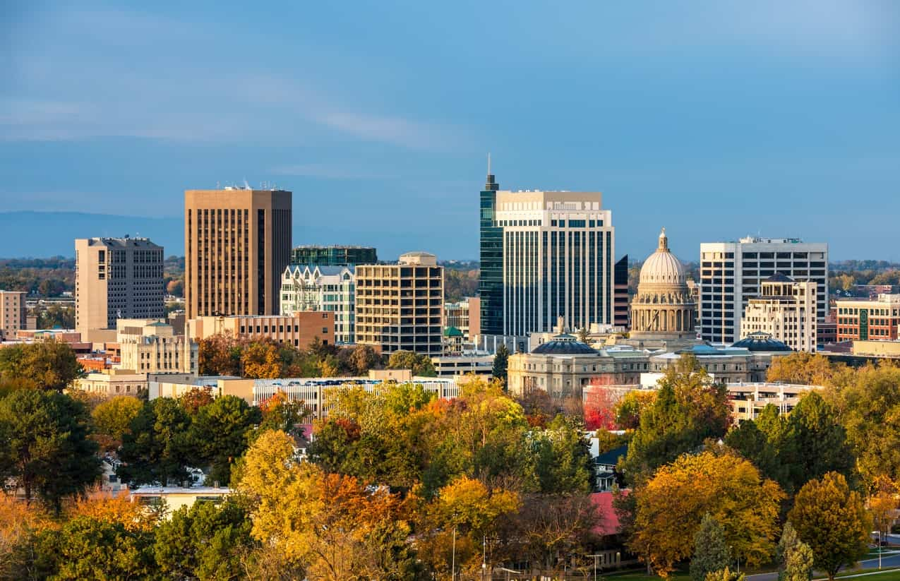 Skyline of Boise, Idaho with autumn trees.