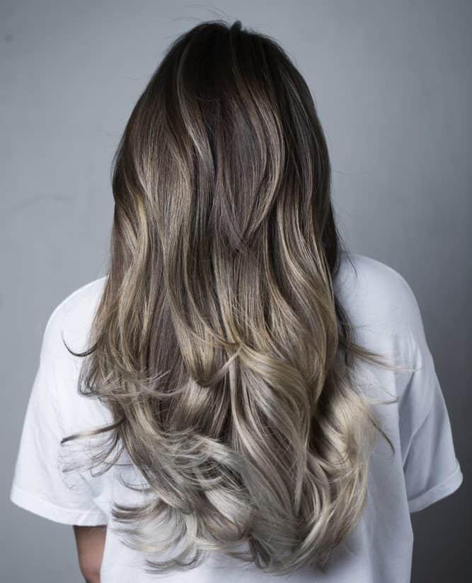 Gray hair with high layers haircut.