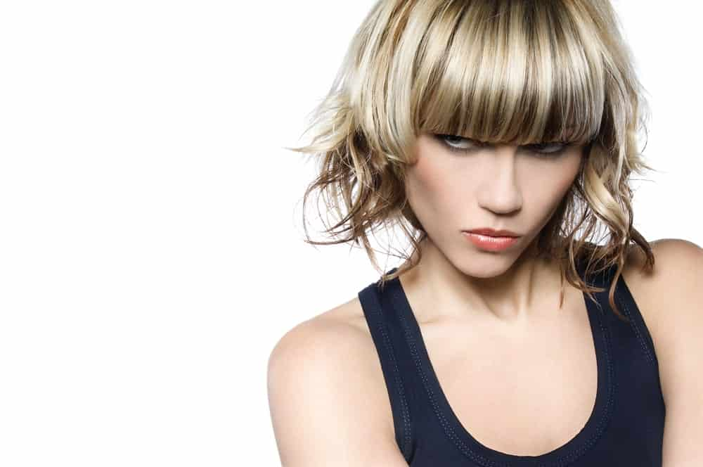 Layer bob with bangs hairstyle.