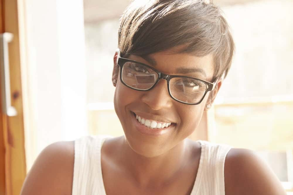 Pixie cut with a side-swept bang.