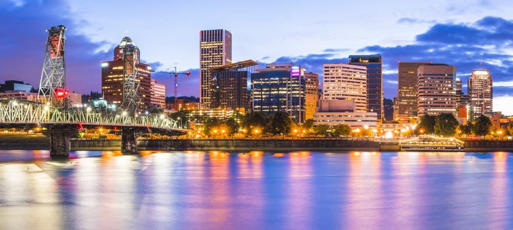 Bright city of Portland during the dusk.