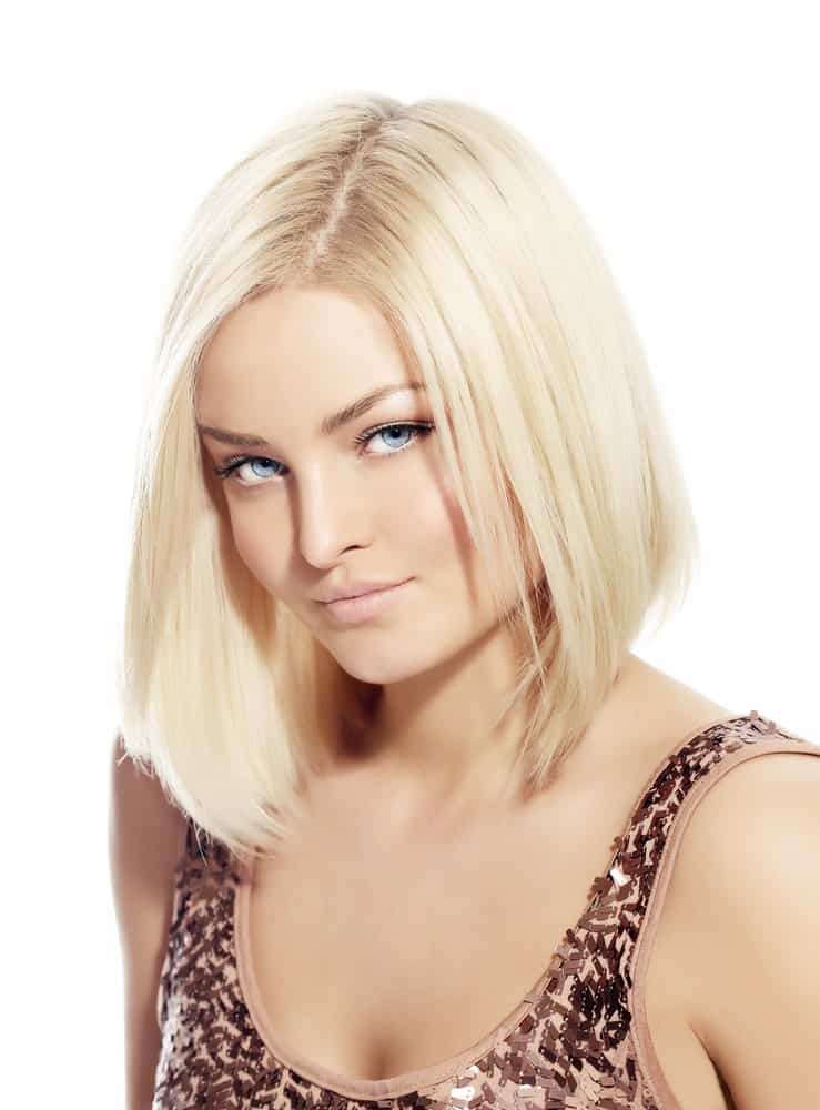 Sleek bob on a blonde woman.