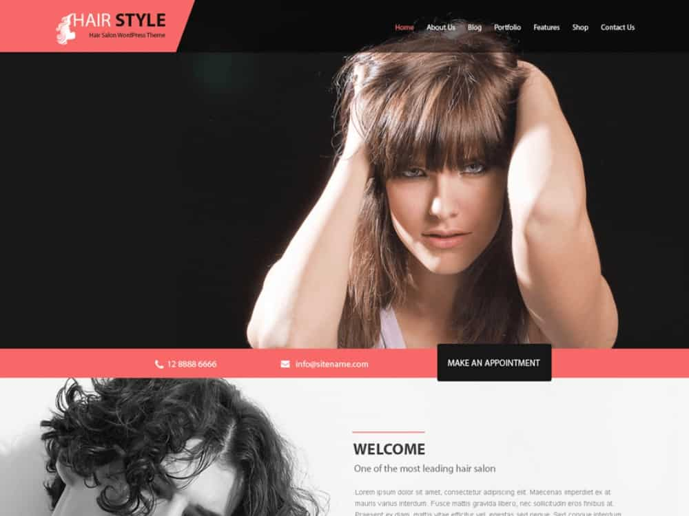 Hairstyle WP theme for hair salons