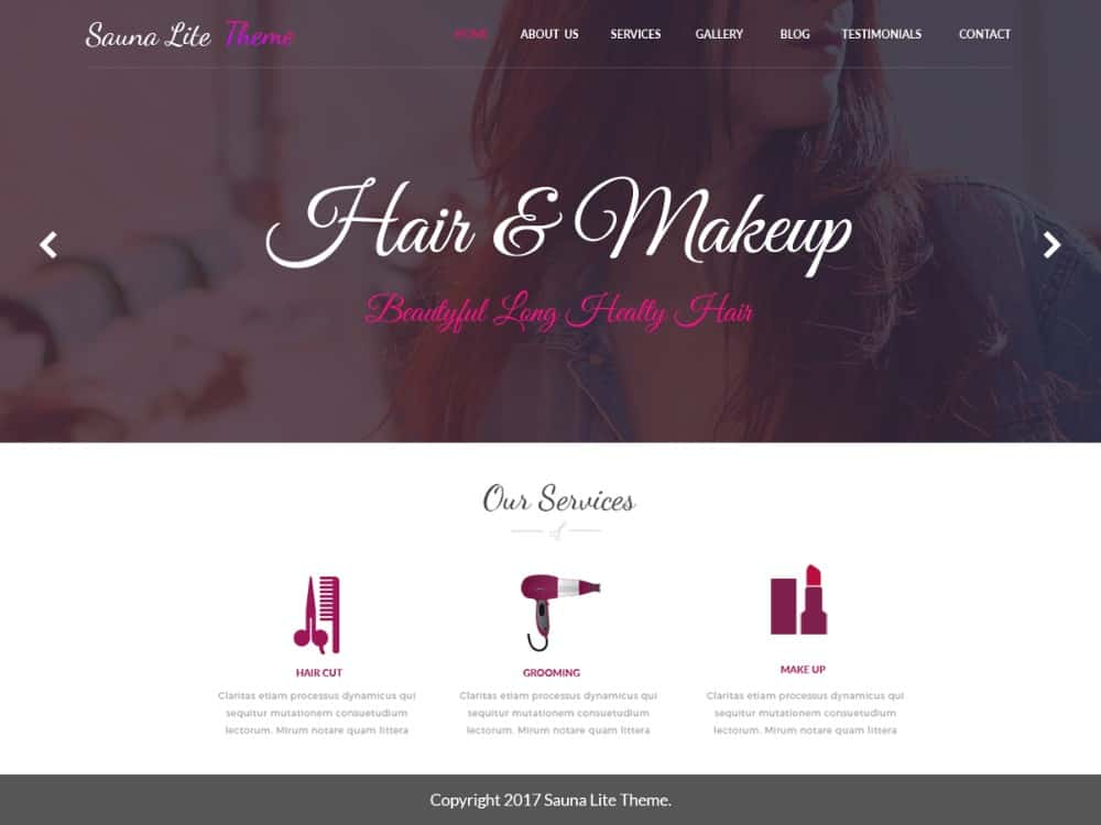 Sauna Lite WP theme for hair salon websites