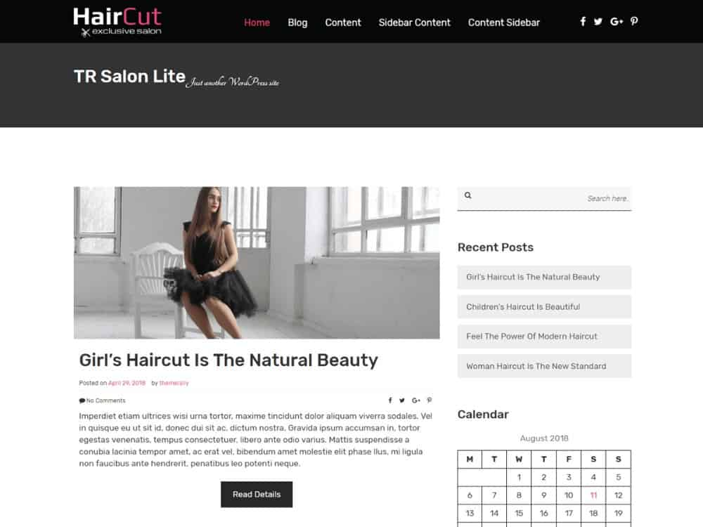 TR Salon Lite theme for hair salons