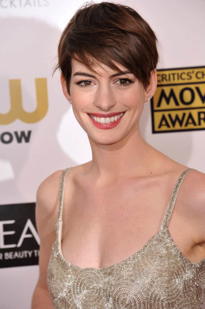 Anne Hathaway with short pixie haircut in 2013