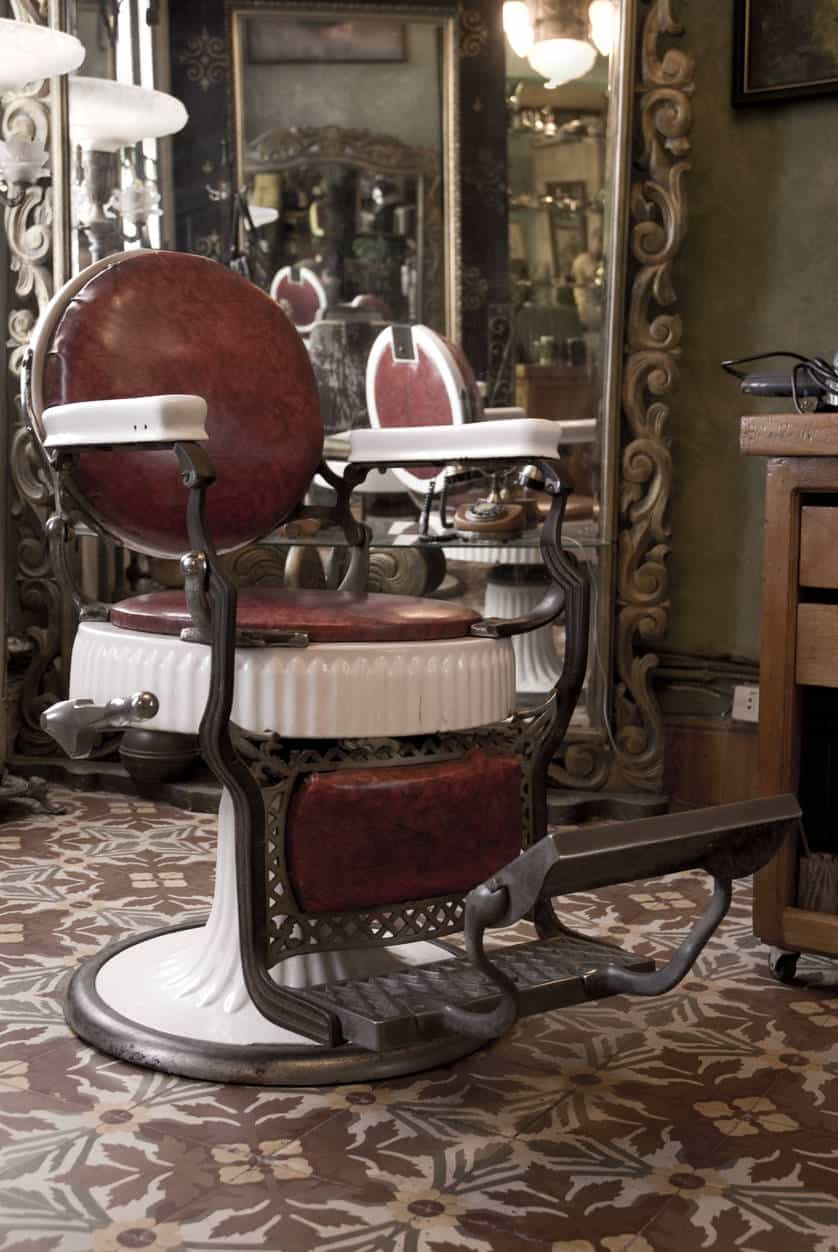 Vintage barbershop, chair, close up