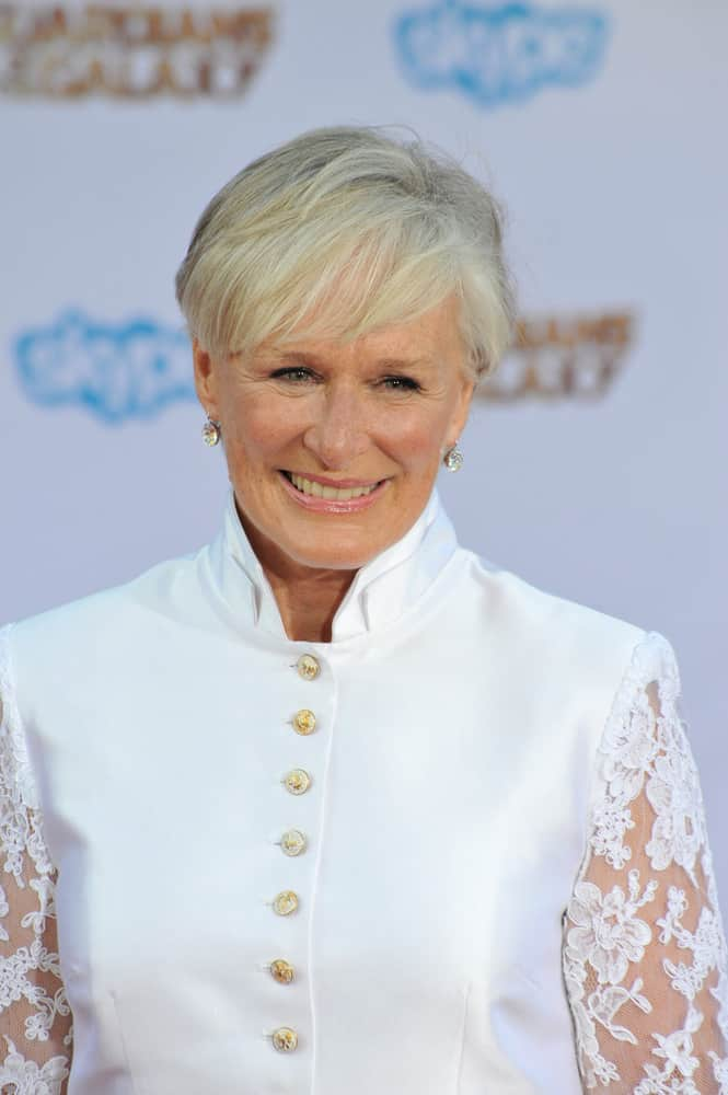 Glenn Close 2014 with short blonde hair