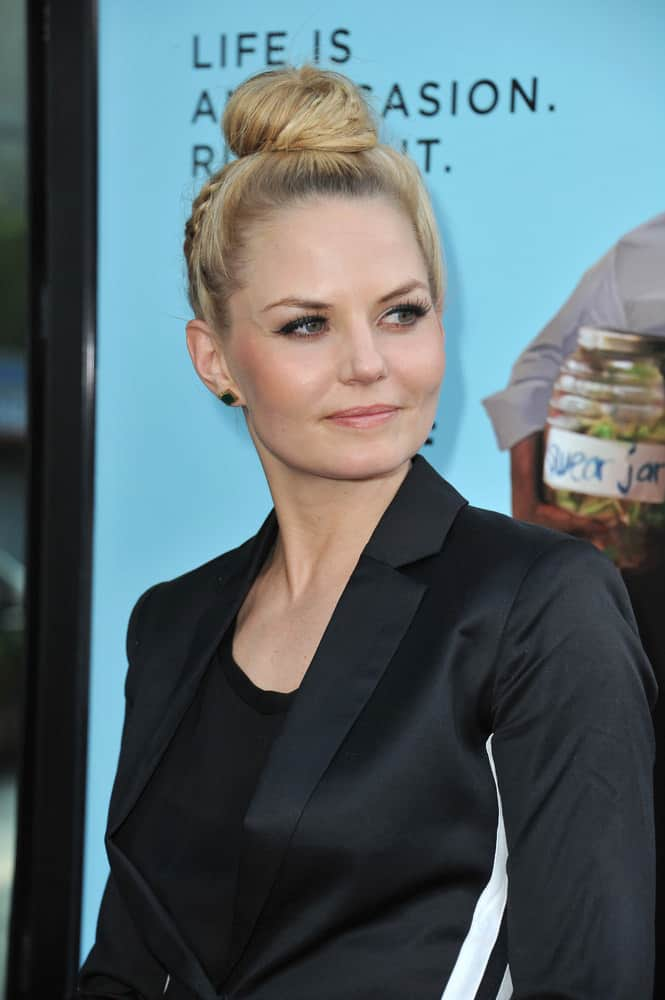 If your hair is dyed blonde like Jennifer Morrison's then sometimes you need to give it a break from harsh heat styling. This is a great alternative. Do one small braid over the ear, then sweep the hair into a smooth, high ponytail. Wrap into a sleek bun and tuck in any loose ends.