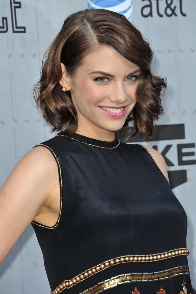 Lauren Cohan with her iconic wavy side-swept bob