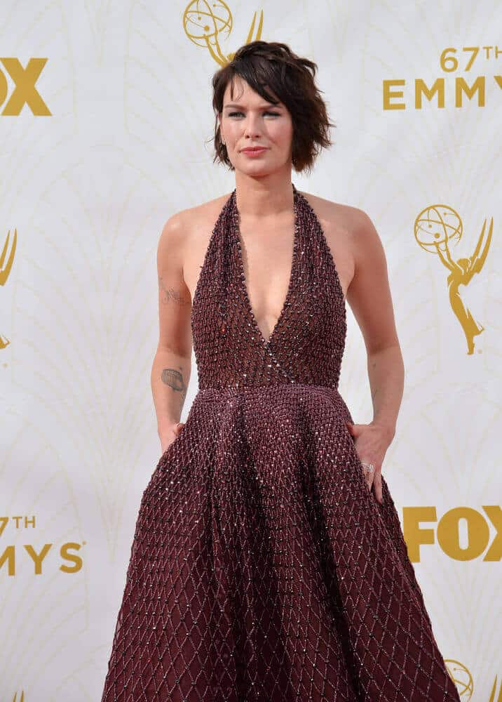Lena Headey with tousled side-swept bob