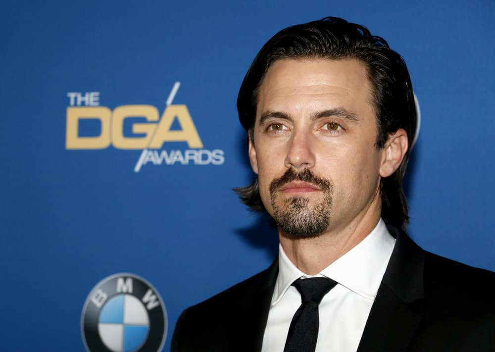Milo Ventimiglia with slicked side-part hairstyle and goatee at the 69th Annual Directors Guild Of America Awards held at the Beverly Hilton Hotel in Beverly Hills, USA on February 4, 2017