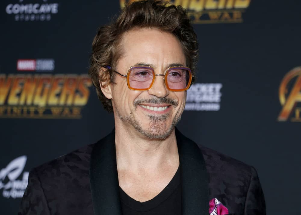 Robert Downey Jr. with side-part tousled hair at the premiere of Disney and Marvel's Avengers Infinity War held at the El Capitan Theatre in Hollywood USA on April 23 2018