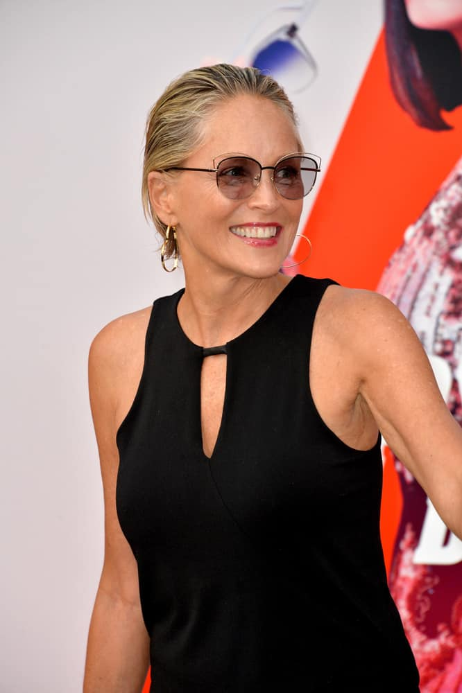 In this third hairstyle, worn by Sharon Stone, she models a moussed and brushed back short haircut. This dark blonde style just barely touches the nape of one's neck and focuses on sleekness and simplicity.