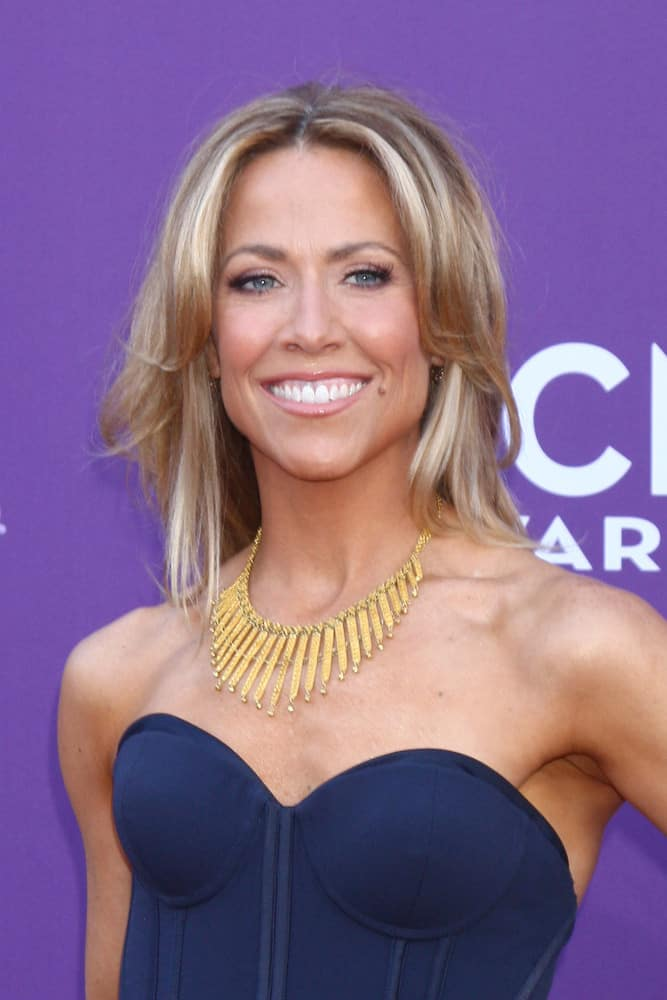This next hairstyle worn by actress Sheryl Crow has a long length and is complemented by a blonde, light brown, and silver color scheme, which adds dimension to the style. The style also has cut-in layers that are curled away from the face, in order to frame facial features and fit the shape of the wearer's face.