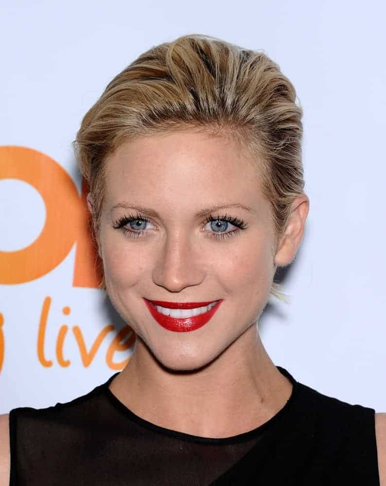 Brittany Snow attended the Trevor Project Honors Katy Perry on December 02, 2012 in Hollywood, CA. She came wearing a black dress with her slicked-back and highlighted sandy blonde hairstyle.