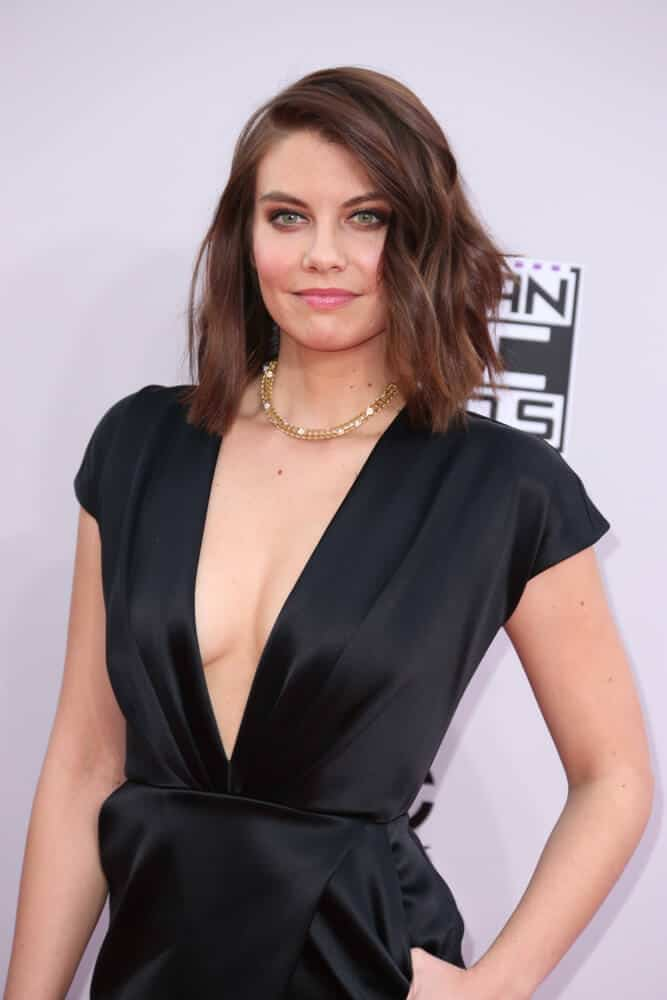 Lauren Cohan with a stylish short side swept bob hairstyle