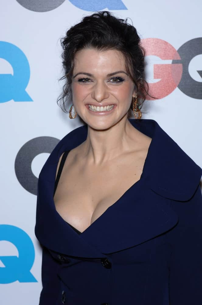 Rachel Weisz at the GQ Magazine's 2005 Men of the Year party in Beverly Hills held on December 1, 2005. She was stunning in a navy blue dress and brushed back updo with curly tendrils.
